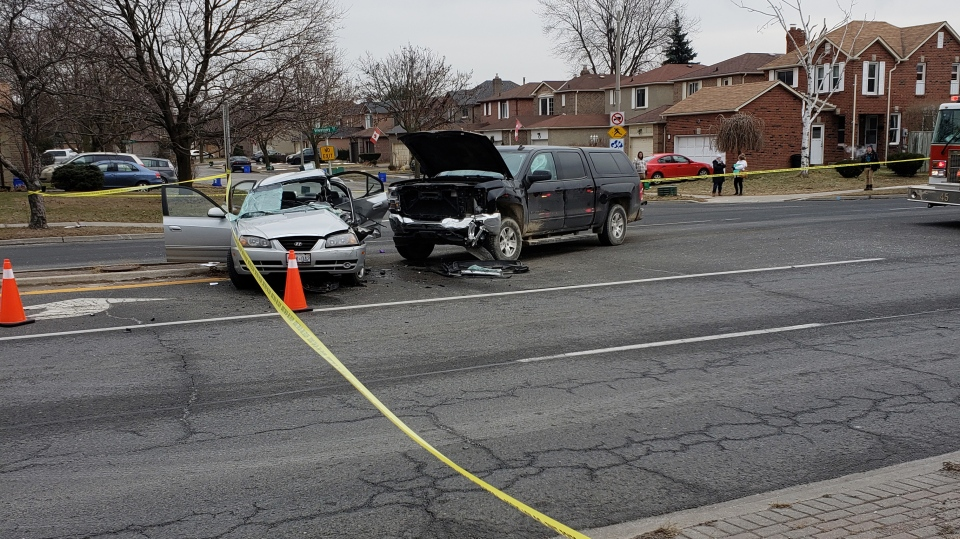 Police at the scene of a fatal crash in Ajax on January 15, 2019.