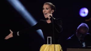 "Celine Dion performs at the ""Aretha! A Grammy Celebration For The Queen Of Soul"" event at the Shrine Auditorium on Sunday, January 13, 2019, in Los Angeles. Dion is pulling a song she recorded with R. Kelly from streaming services in the wake of a Lifetime docuseries that details allegations of sexual misconduct against the R&B singer.THE CANADIAN PRESS/AP-Photo by Richard Shotwell/Invision/AP"
