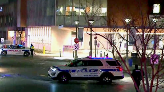 Emergency crews are seen investigating after a threat was made against Credit Valley Hospital in Mississauga.