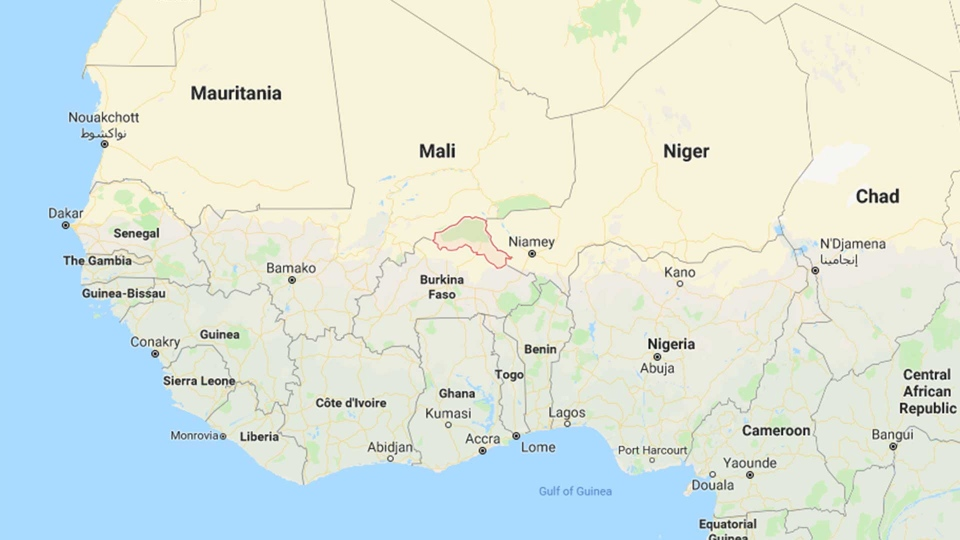 The Sahel region of Burkina Faso is indicated in red on this map. (Google)