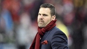 Toronto FC head coach Greg Vanney looks on during second half MLS Cup Final soccer action against the Seattle Sounders in Toronto on Saturday, December 9, 2017. After medicals and two days of fitness training indoors in the frigid north, Toronto FC heads to the warmth and real grass of California on Friday to start training camp in earnest. THE CANADIAN PRESS/Frank Gunn
