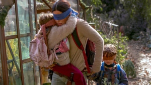 "This image released by Netflix shows Sandra Bullock in a scene from the film, ""Bird Box."" (Saeed Adyani/Netflix via AP)"