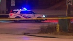 Police investigate after a woman was struck by a vehicle in a hit-and-run near Danforth Road and Patterson Avenue Thursday January 17, 2019.