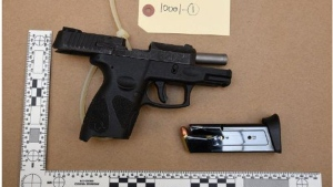 One of two loaded guns reportedly found in a vehicle in Scarborough on Jan. 12 is shown. (Toronto Police Service)