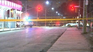 Police tape is shown on scene following a fatal hit-and-run near Bathurst Street and Lennox Avenue on Thursday night.