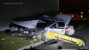 A Toronto police cruiser is seen following a crash in Markham on Jan. 1, 2019. (Courtesy: Toronto Sun)