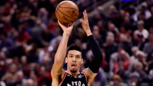 Toronto Raptors guard Danny Green (14) makes a shot during first half NBA basketball action against the Memphis Grizzlies, in Toronto on Saturday, Jan. 19, 2019. THE CANADIAN PRESS/Frank Gunn