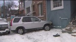 A car crashed into a house in the area of Woodbine Avenue and Lake Shore Boulevard.