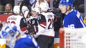 Arizona Coyotes' Vinnie Hinostroza (13) celebrates with teammates after scoring against the Toronto Maple Leafs during third period NHL hockey action in Toronto on Sunday, January 20, 2019. THE CANADIAN PRESS/Chris Young