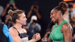United States' Serena Williams, right, is congratulated by Romania's Simona Halep after winning their fourth round match at the Australian Open tennis championships in Melbourne, Australia, Monday, Jan. 21, 2019. (AP Photo/Andy Brownbill)