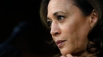 FILE- In this Sept. 6, 2018, file photo Sen. Kamala Harris, D-Calif., listens as President Donald Trump's Supreme Court nominee, Brett Kavanaugh, answers her question during the third day of Kavanaugh's Senate Judiciary Committee confirmation hearing on Capitol Hill in Washington. H (AP Photo/Jacquelyn Martin, File)