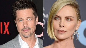 Brad Pitt and Charlize Theron are seen in this composite image. (Evan Agostini and Jordan Strauss/Invision/AP, File)
