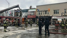 Crews are on the scene of a fire at a diner near Danforth and Chester avenues. (Cristina Tenaglia/ CP24)