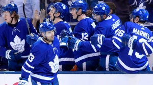 Toronto Maple Leafs centre Nazem Kadri (43) celebrates his hat-trick goal during third period NHL hockey action against the Washington Capitals, in Toronto on Wednesday, Jan. 23, 2019. THE CANADIAN PRESS/Nathan Denette