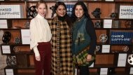 "From left to right, actress Amy Ryan, actress Mindy Kaling, and director Nisha Ganatra seen at the Chase Sapphire hosted after party for ""Late Night"" at Chase Sapphire on Main at Sundance Film Festival 2019 on Friday, January 25, 2019 in Park City, Utah. (Photo by Dan Steinberg/Invision for Chase Sapphire/AP Images)"