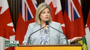 Ontario NDP Leader Andrea Horwath speaks to reporters on January 31, 2019.