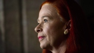 President and CEO of CBC/Radio-Canada Catherine Tait looks on during a press conference in the foyer of the House of Commons on Parliament Hill in Ottawa on April 3, 2018. THE CANADIAN PRESS/Sean Kilpatrick