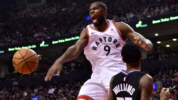eda5ebbcd2ef Toronto Raptors centre Serge Ibaka (9) reacts after dunking on L.A.  Clippers guard Lou Williams (23)during first half NBA basketball action in  Toronto on ...