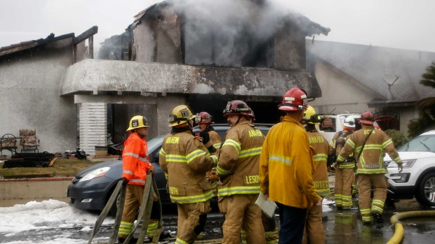 Small plane crashes into home in Southern California