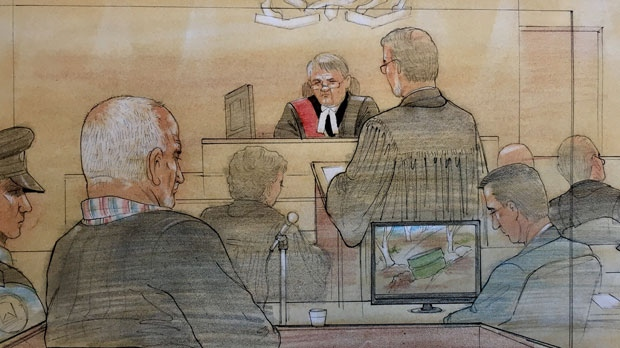A court sketch shows serial killer Bruce McArthur in court on the day of his sentencing hearing on Monday, Feb. 4, 2019. (Sketch by John Mantha)