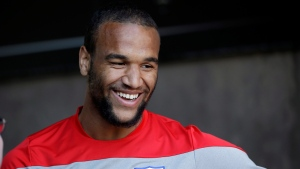 In this May 21, 2014 file photo, United States soccer player Terrence Boyd smiles as he answers questions during a training session in Stanford, Calif. Boyd, a German-American, was cut from the U.S. team roster in late May. (AP Photo/Marcio Jose Sanchez, File)