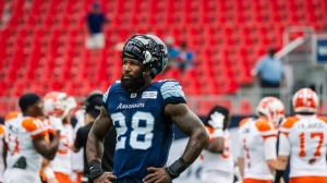 The Toronto Argonauts have re-signed linebacker Akeem Jordan through the upcoming CFL season. Toronto Argonauts linebacker Akeem Jordan (28) watches team warm-up before CFL action against the BC Lions, in Toronto on Sunday, Aug. 18, 2018. THE CANADIAN PRESS/Christopher Katsarov