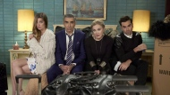 "Annie Murphy as Alexis Rose, left to right, Eugene Levy as Johnny Rose, Catherine O'Hara as Moira Rose and Dan Levy as David Rose in CBC's comedy Schitt's Creek pose in an undated handout photo. The CBC series ""Anne with an E"" and ""Schitt's Creek"" are the leading nominees for this year's Canadian Screen Awards. THE CANADIAN PRESS/HO"