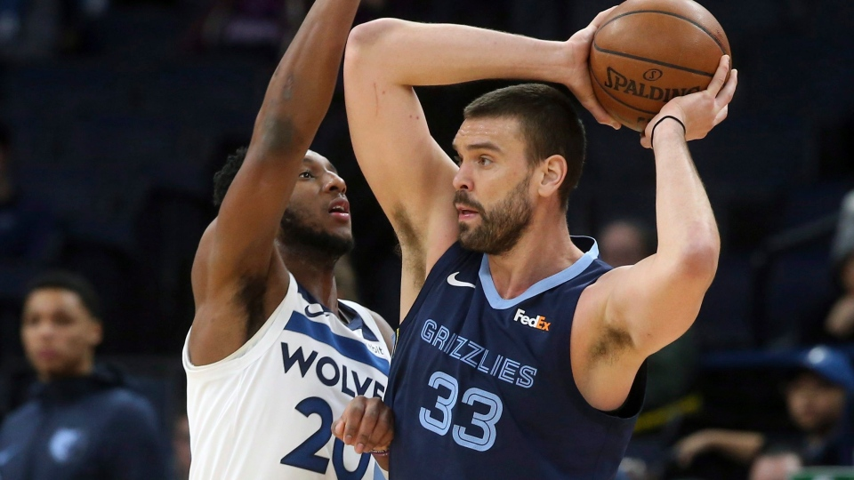 Memphis Grizzlies' Marc Gasol, right, looks for help as Minnesota Timberwolves' Josh Okogie defends during the first half of an NBA basketball game Wednesday, Jan. 30, 2019, in Minneapolis. A person familiar with the terms has told The Associated Press that the Toronto Raptors have acquired centre Marc Gasol from the Memphis Grizzlies for a package including centre Jonas Valanciunas. THE CANADIAN PRESS/ AP Photo/Jim Mone