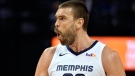 Memphis Grizzlies center Marc Gasol (33) reacts after scoring in the first half of an NBA basketball game against the Denver Nuggets Monday, Jan. 28, 2019, in Memphis, Tenn. (AP Photo/Brandon Dill)