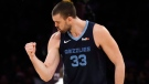 Memphis Grizzlies' Marc Gasol (33) celebrates after scoring against the Los Angeles Lakers during the second half of an NBA basketball game, Sunday, Dec. 23, 2018, in Los Angeles. (AP Photo/Marcio Jose Sanchez)