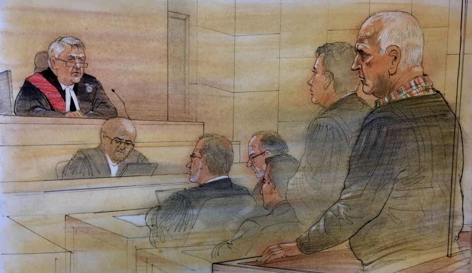 This courtroom sketch shows Bruce McArthur (right) during his sentencing on Friday. A judge has sentenced McArthur to life in prison with no chance of parole for 25 years. (John Mantha)
