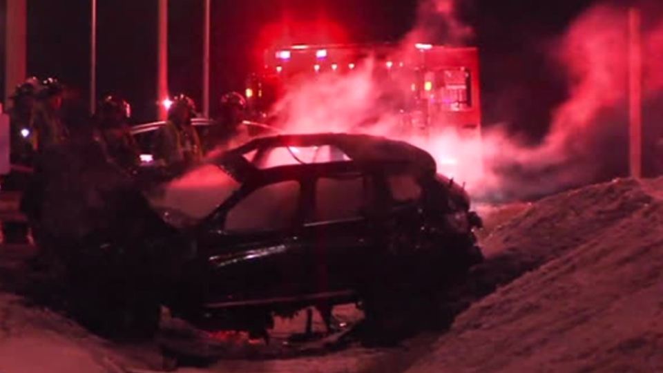 The wreckage of a stolen vehicle is pictured following a collision on Morningside Avenue near Highway 401 Sunday February 10, 2019.