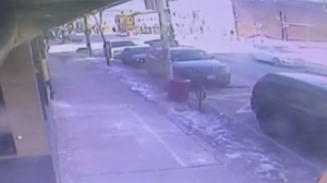 A screenshot of surveillance camera footage obtained by CP24 on Feb. 10, 2019 that shows a deer run into a downtown Oshawa bar is seen.