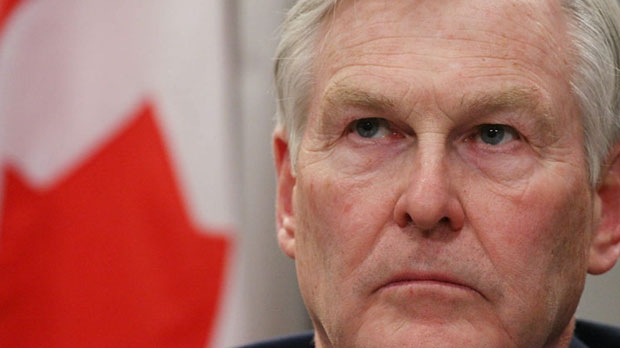Michael Wilson listens to a reporter's question as border security issues are discussed Sunday, February 25, 2007 at the Canadian Embassy in Washington. (AP Photo/Lauren Victoria Burke)