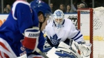 Toronto Maple Leafs goaltender Garret Sparks, right, protects the net during the second period of an NHL hockey game against the New York Rangers Sunday, Feb. 10, 2019, at Madison Square Garden in New York. (AP Photo/ Bill Kostroun)