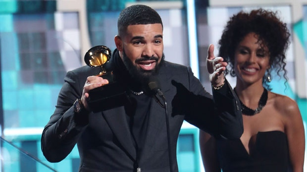 """Drake accepts the award for best rap song for """"God's Plan"""" at the 61st annual Grammy Awards on Sunday, Feb. 10, 2019, in Los Angeles. (Photo by Matt Sayles/Invision/AP)"""