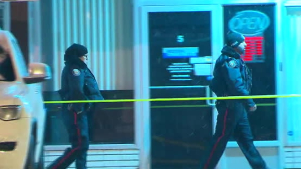Police investigate a shooting at a plaza at Islington Avenue and Dixon Road Sunday February 11, 2019.