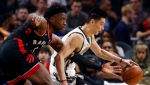 Atlanta Hawks guard Jeremy Lin (7) goes to the basket as Toronto Raptors forward OG Anunoby (3) defends during the first half of an NBA basketball Thursday, Feb. 7, 2019, in Atlanta. THE CANADIAN PRESS/AP, John Bazemore