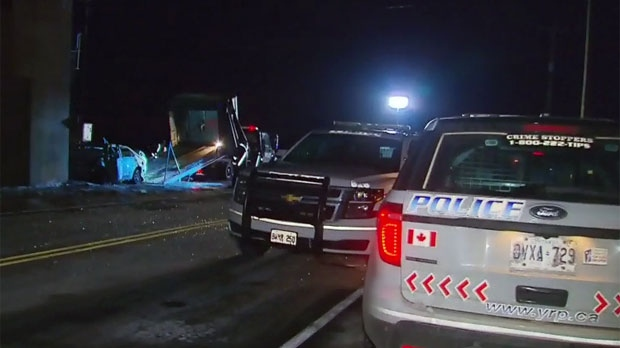 The scene of a fatal crash in Markham on Feb. 11, 2019 is seen.