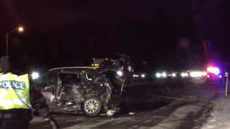 Police investigate a serious collision in the northbound lanes of Highway 400 near Teston Road Tuesday February 12, 2019.