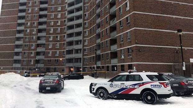 The scene of a fatal shooting in Scarborough's West Hill neighbourhood on Feb. 12, 2019 is seen.