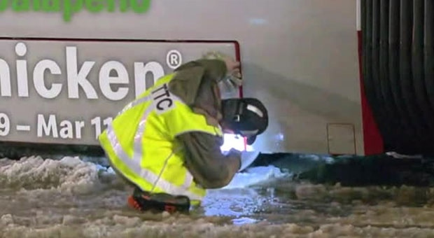 Ice buildup caused issues on the TTC on Tuesday night.