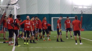 Toronto FC players take a break at the team's training camp in Toronto, Tuesday, Jan.15, 2019. THE CANADIAN PRESS/Neil Davidson
