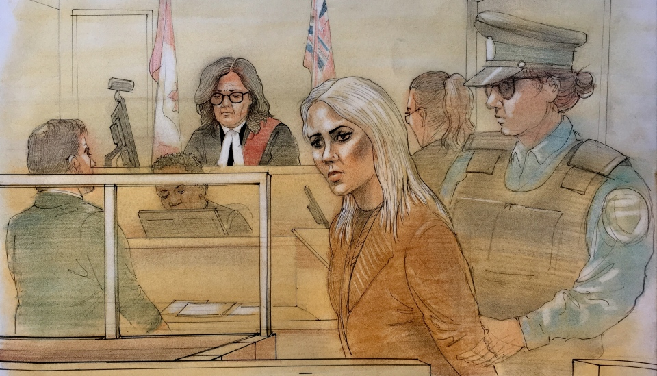 Court sketch shows Marcella Zoia on Feb. 13, 2019. (John Mantha)