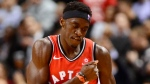 Toronto Raptors forward Pascal Siakam (43) celebrates scoring a three-pointer during second half NBA basketball action against the Washington Wizards in Toronto on Wednesday, February 13, 2019. THE CANADIAN PRESS/Frank Gunn