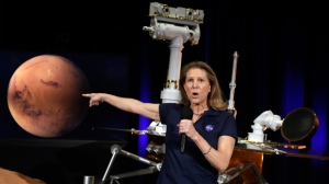 Lori Glaze, acting director of NASA's Planetary Science Division, speaks during a mission briefing for the Mars Exploration Rover Opportunity at NASA's Jet Propulsion Laboratory Wednesday, Feb. 13, 2019, in Pasadena, Calif. (AP Photo/Marcio Jose Sanchez)
