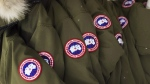 Jackets hang at the factory of Canada Goose Inc. in Toronto on November 28, 2013. THE CANADIAN PRESS/Aaron Vincent Elkaim