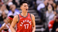 Toronto Raptors guard Jeremy Lin (17) celebrates a basket against the Washington Wizards during second half NBA basketball action in Toronto on Wednesday, February 13, 2019. THE CANADIAN PRESS/Frank Gunn