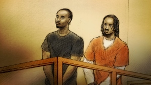 Naod Tsegazab, 22, and Joseph Carlton Bryan, 22, are seen in a Toronto courtroom on Friday, Feb. 15, 2019.  (Alex Tavshunsky/ CTV News Toronto)