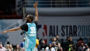 Home team's Famous Los reacts following a basket against the Away team during the second half of an NBA All-Star Celebrity basketball game in Charlotte, N.C., Friday, Feb. 15, 2019. (AP Photo/Gerry Broome)